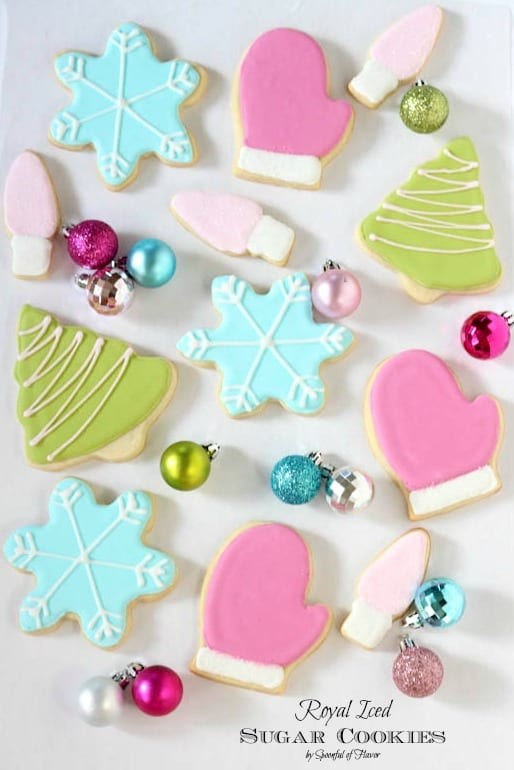 Assorted Iced Sugar Cookies with Colorful Frosting