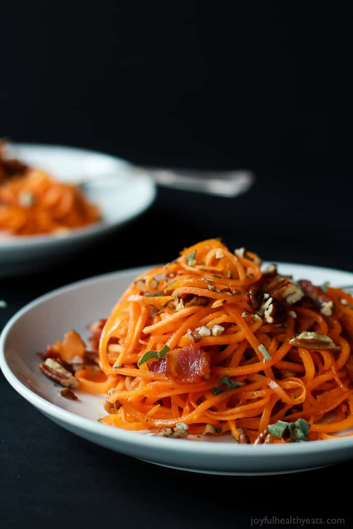 A Plate of Sweet Potato Noodles with Brown Butter Sage Sauce