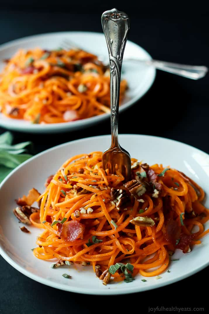 Homemade Sweet Potato Noodles, Brown Butter Sauce, Pecans, and Bacon... what more could you ask for?   www.joyfulhealthyeats.com