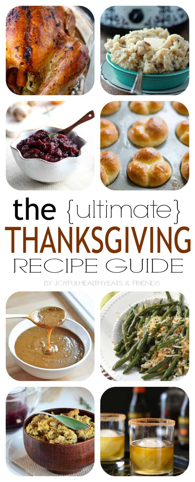 The Ultimate Thanksgiving Recipe Guide with all your favorite heavy hitters, Roasted Turkey, Lump Free Gravy, Homemade Dinner Rolls, and Pumpkin Pie. Come and get it! | www.joyfulhealthyeats.com