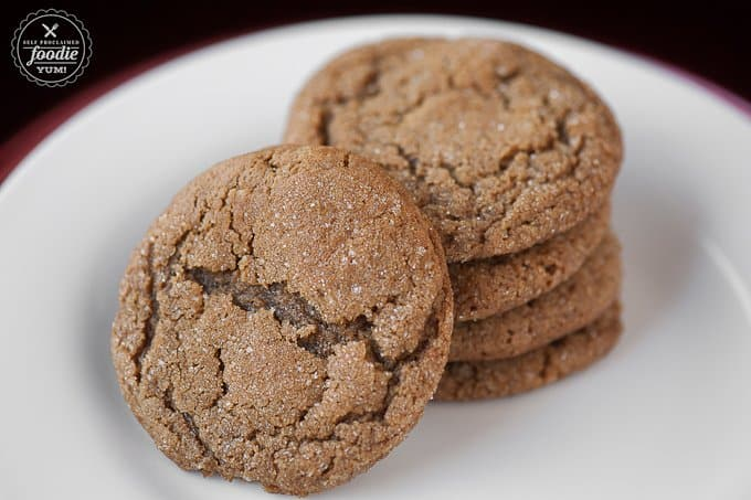 A Stack of Molasses Sugar Cookies on a Clean White Plate
