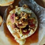 Baked Brie with a Roasted Fig Walnut Honey Topping