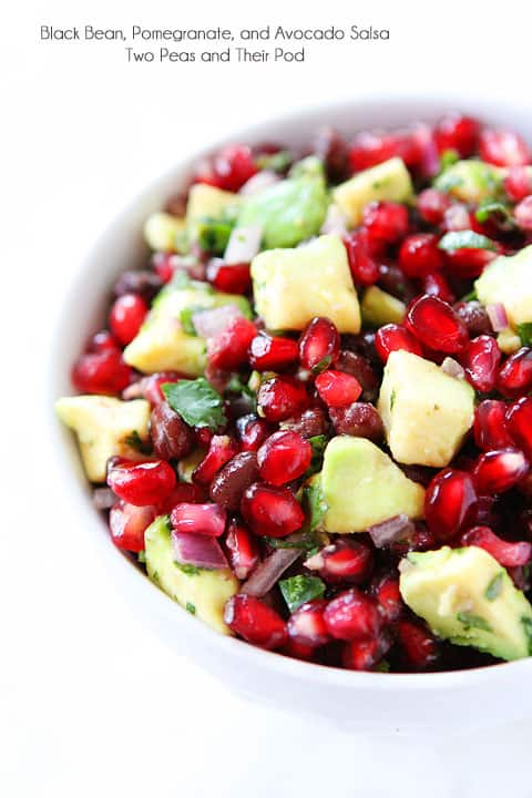 A Bowl of Black Bean Pomegranate Avocado Salsa
