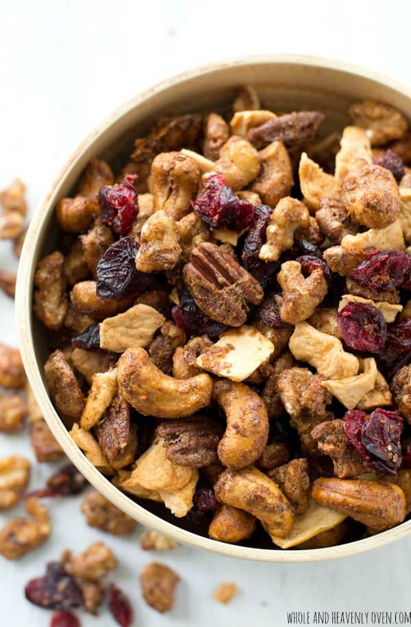 A Bowl of Candied Nut Cranberry Apple Snack Mix