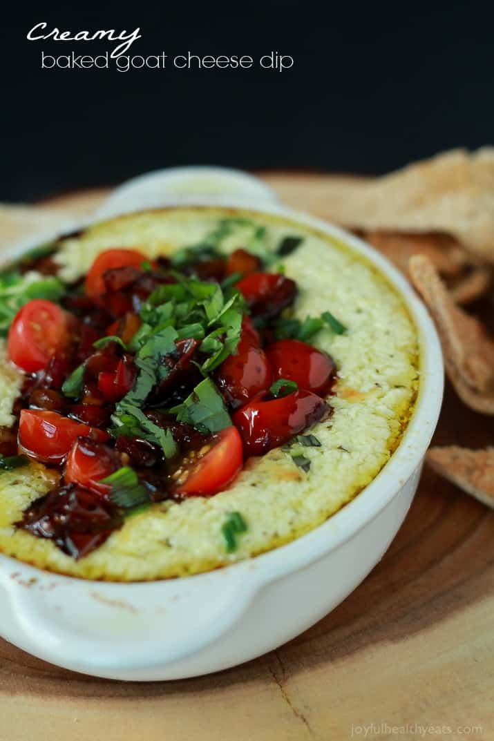Creamy Baked Goat Cheese Dip topped with balsamic bruschetta