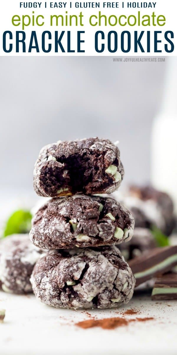 Pinterest pin for Epic Mint Chocolate Crackle Cookies