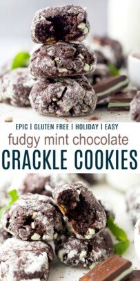 pinterest collage for fudgy mint chocolate crinkle cookies
