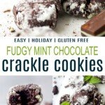 pinterst image for fudgy mint chocolate crackle cookies