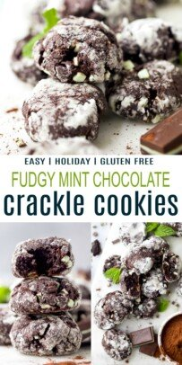 pinterst collage for fudgy mint chocolate crackle cookies