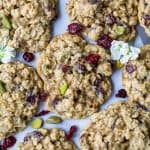 closeup photo of Chewy Pistachio Cranberry Oatmeal Cookies