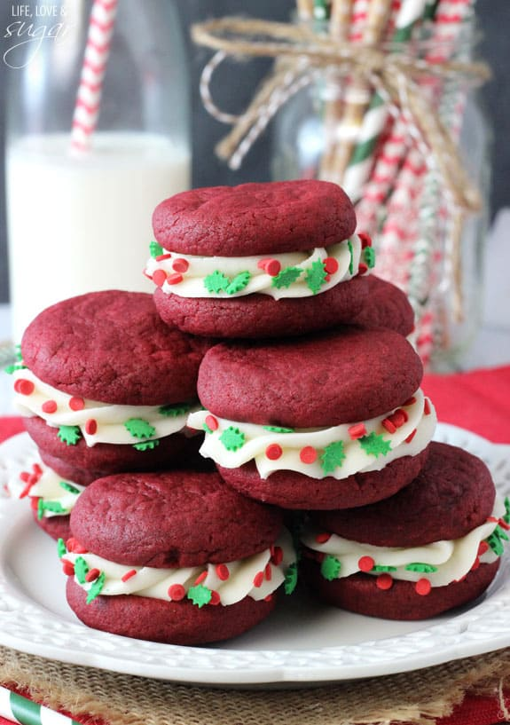 A Stack of Red Velvet Cookie Sandwiches on a Plate