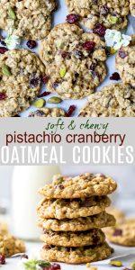pinterest photo of pistachio cranberry oatmeal cookies