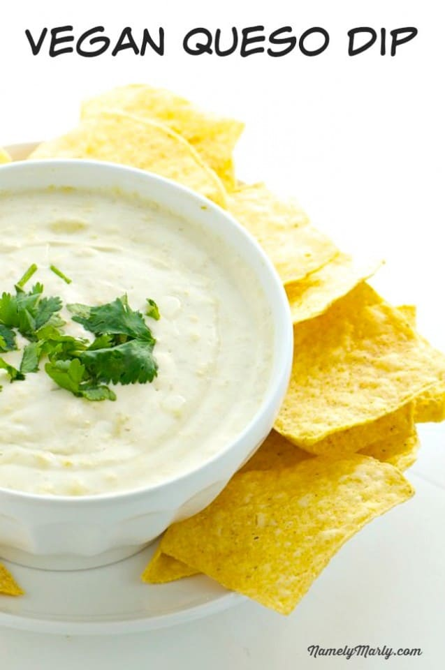 A Bowl of Vegan Queso Beside Tortilla Chips for Dipping