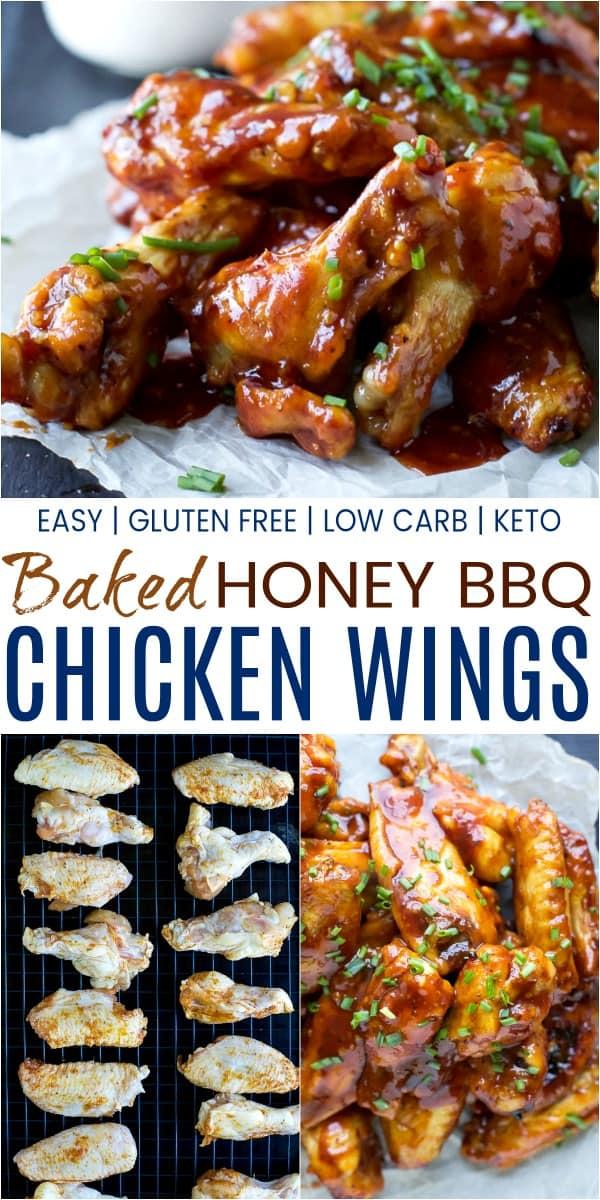 pinterest image for crispy baked honey bbq chicken wings