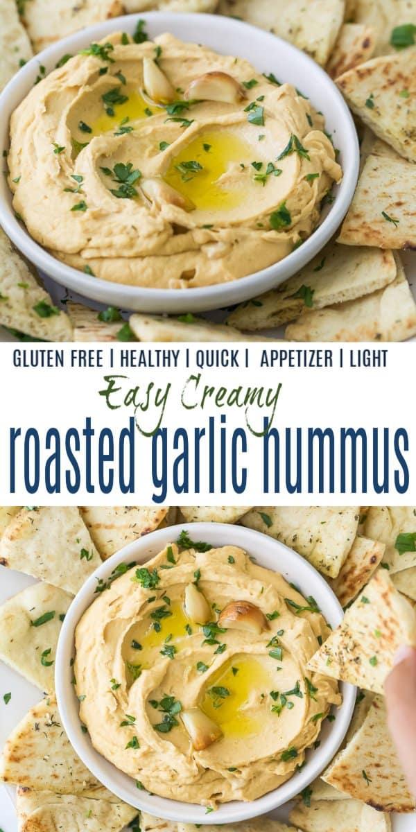 pinterest image for roasted garlic hummus