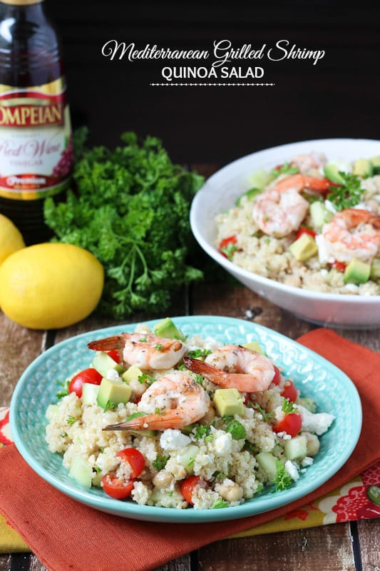 A Blue Plate Full of Mediterranean Grilled Shrimp Quinoa Salad