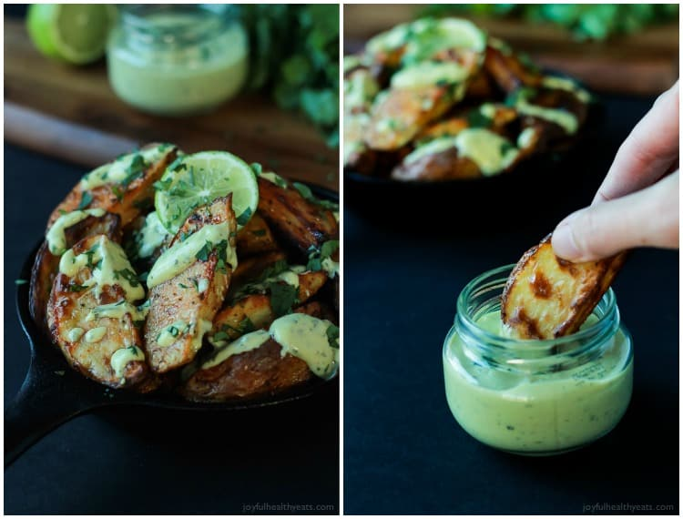 These Oven Roasted Potato Wedges actually turn out crispy, and the Avocado Wasabi Aioli rocks! | www.joyfulhealthyeats.com #recipes
