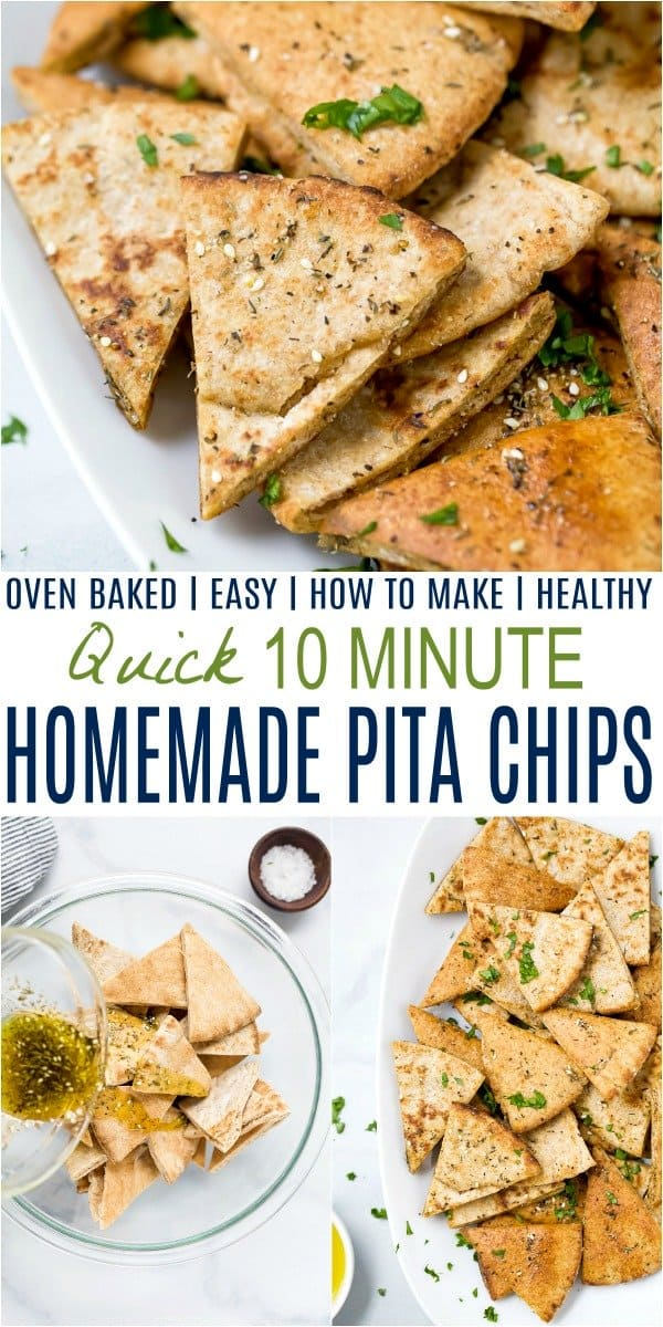 pinterest image for quick easy homemade baked pita chips