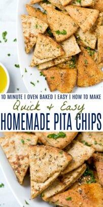 pinterest image for quick easy homemade baked pita chips