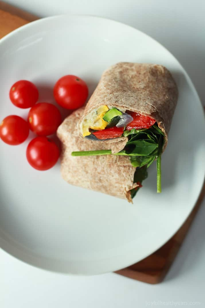 Healthy + Easy Roasted Vegetable Wraps with a Roasted Garlic White Bean Hummus, this is seriously amazing! | www.joyfulhealthyeats.com #eathealthy #recipes