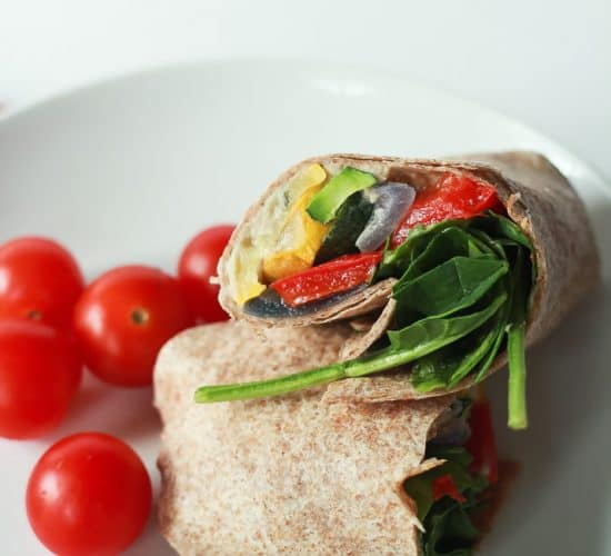 Image of a Roasted Vegetable Hummus Wrap