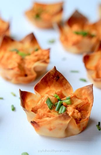Buffalo Chicken Wonton Cups on a white surface