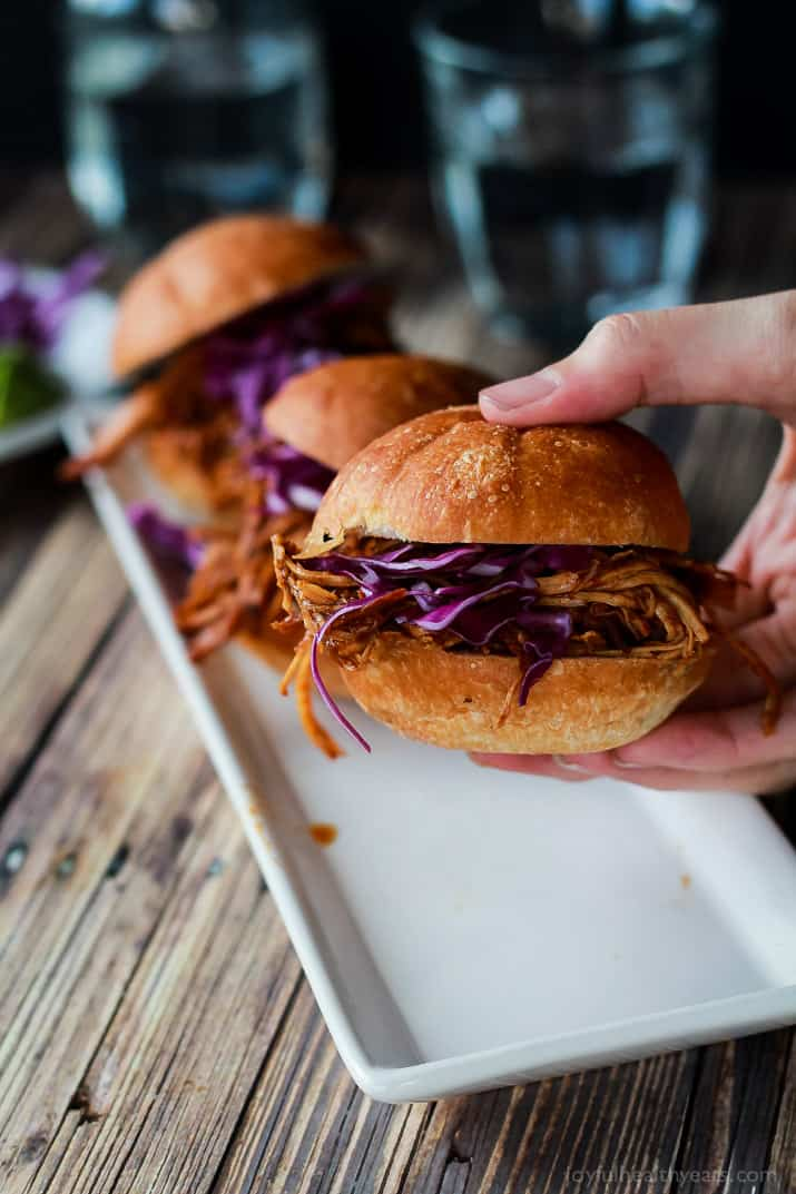 Seriously can't get enough of these! Must make for next party, so easy ... Skinny Pulled Pork Sliders | www.joyfulhealthyeats.com
