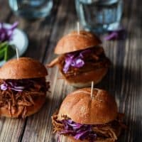 Skinny Pulled Pork Sliders with Red Cabbage & Avocado