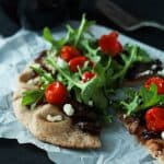 30 Minute Pita Pizza with Balsamic Caramelized Onions and Arugula