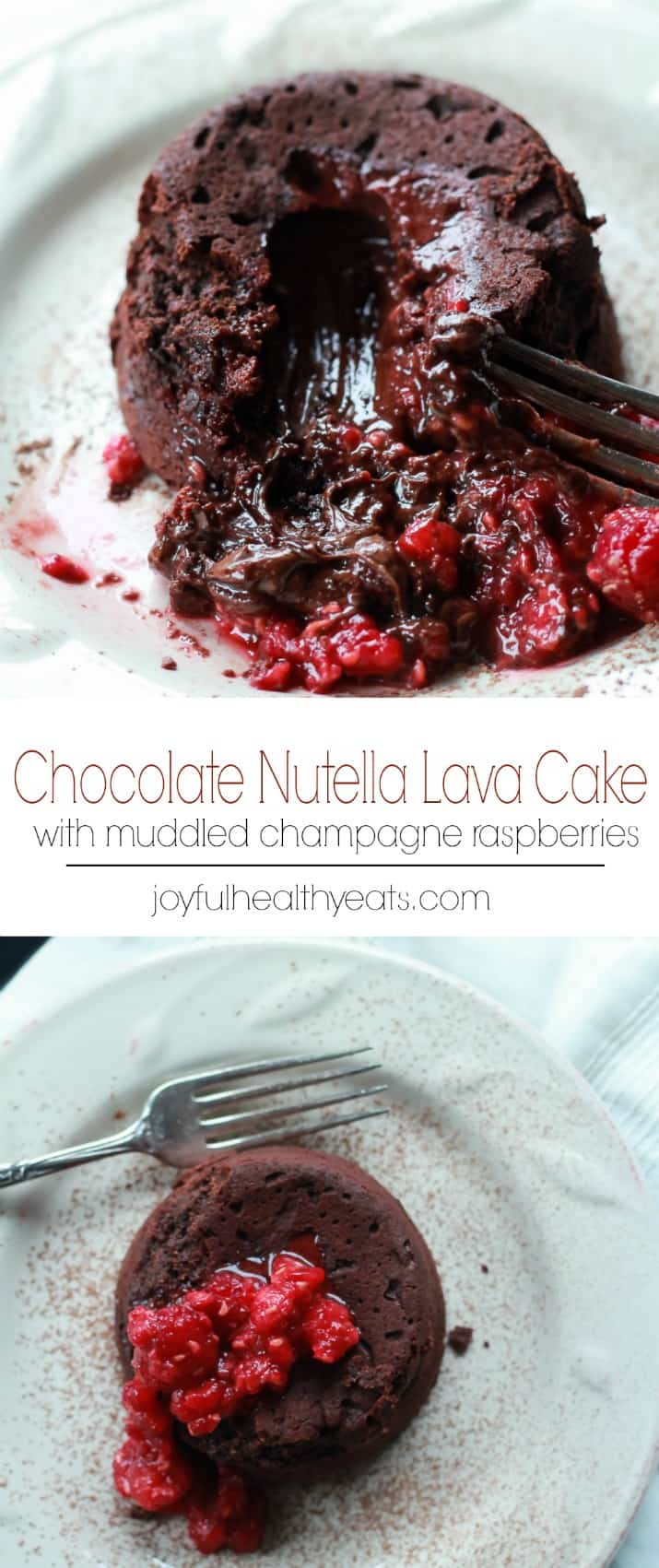 Nutella Chocolate Lava Cake with Muddled Champagne Raspberries