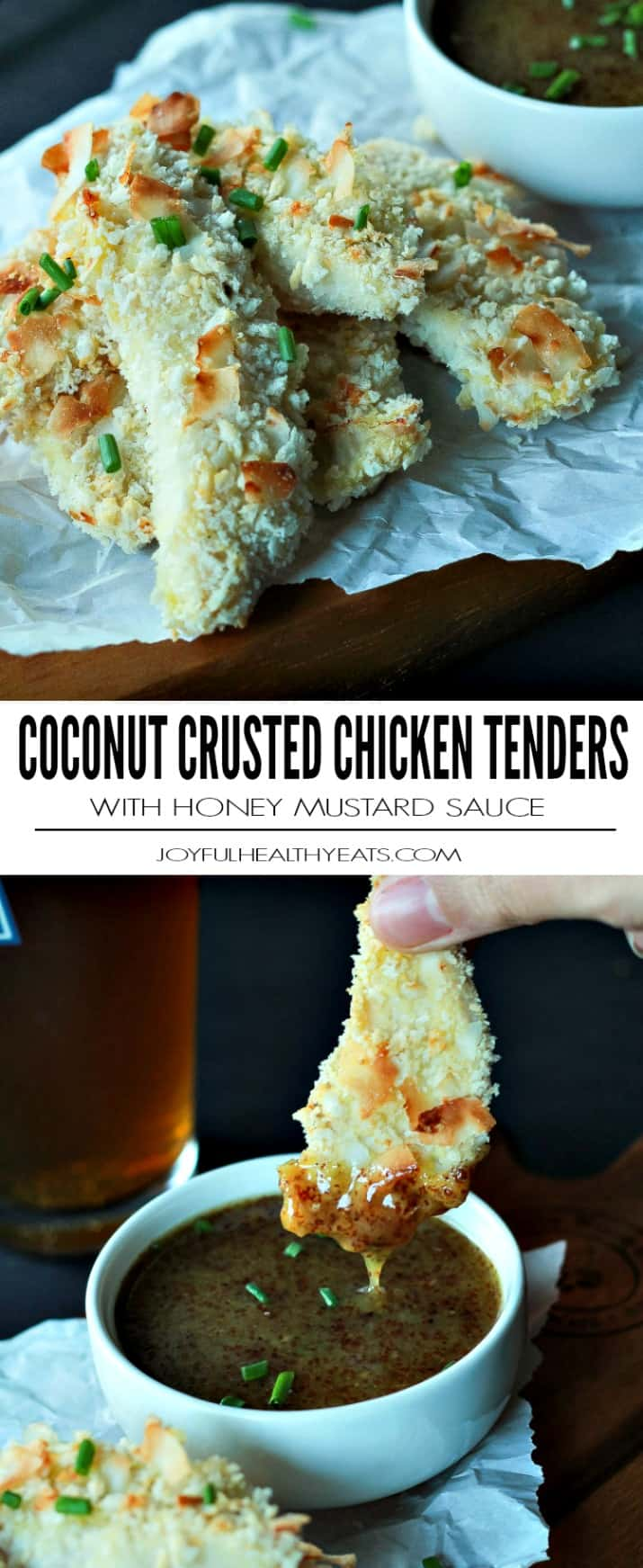 Dinner in 30 minutes! Baked Coconut Crusted Chicken Tenders using just 3 ingredients and served with a Tangy Honey Mustard Sauce for dunking. You will love this! | joyfulhealthyeats.com #recipe
