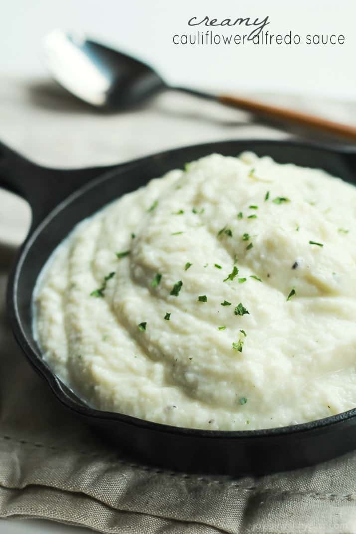 Cauliflower Alfredo Sauce Garnished with Finely Chopped Parsley