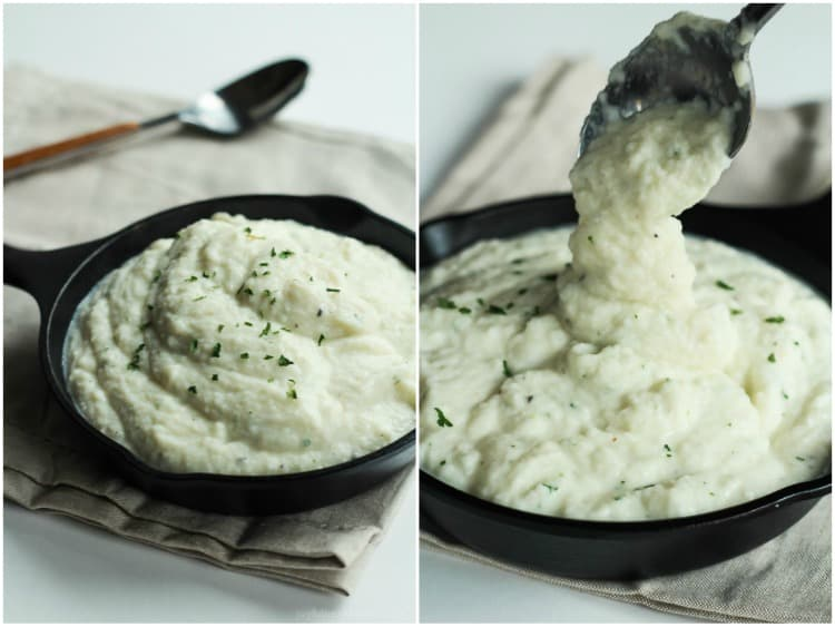 Cauliflower Alfredo Sauce Being Scooped Out of the Skillet with a Spoon