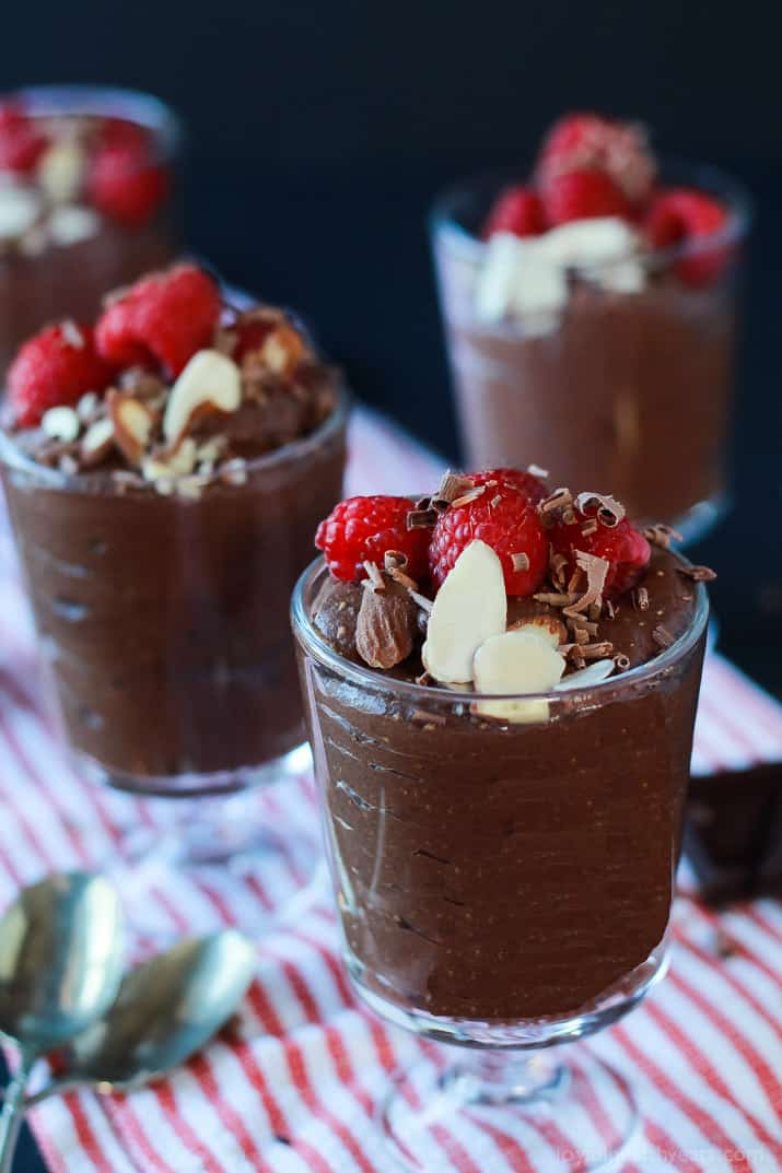 Chia Pudding, made with coconut milk, dates, darkc chocolate, and chia seeds! Perfect for a Valentine's Day Sweet Treat! | www.joyfulhealthyeats.com #dessert #vegan #dairyfree #sugarfree