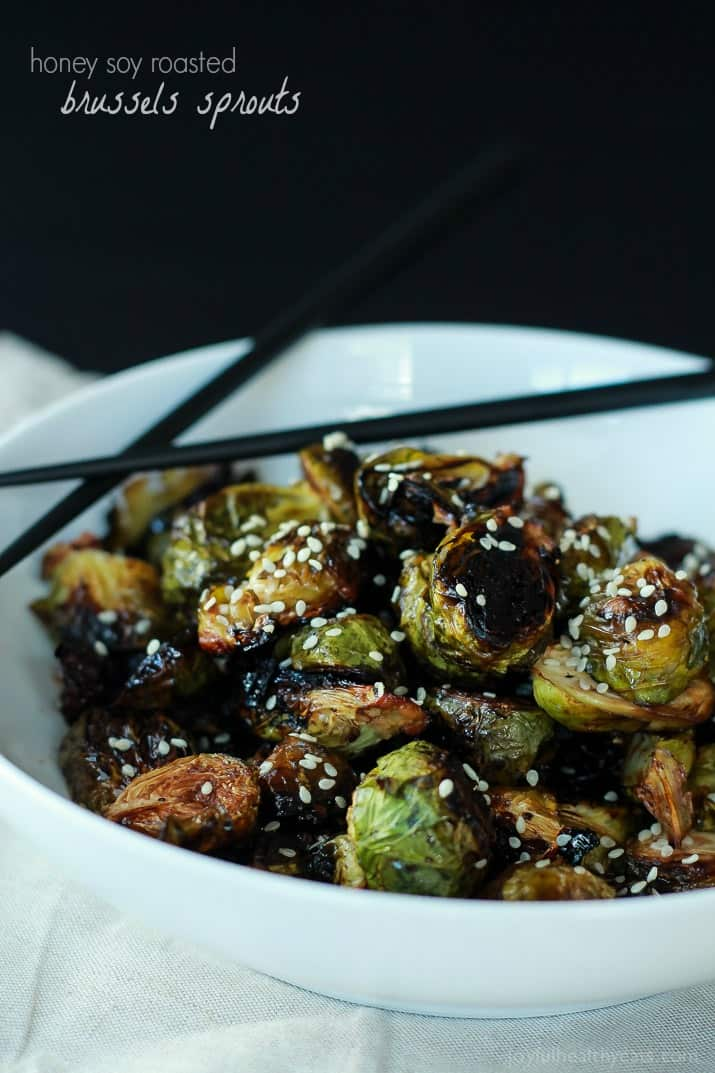 Honey Soy Roasted Brussels Sprouts, just five ingredients and done in ...