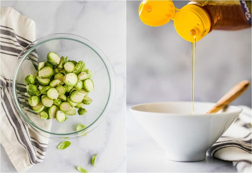 photo of raw brussels sprouts and honey being poured