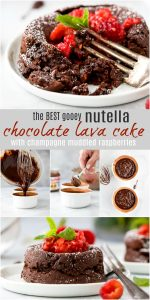 pinterest image for nutella chocolate lava cake recipe topped with champagne muddled raspberries
