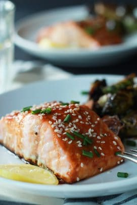 An incredible sweet and savory dinner in less than 20 minutes, Hoisin Honey Glazed Salmon. A healthy low carb meal using only 10 ingredients!   joyfulhealthyeats.com #recipes