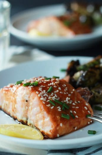 An incredible sweet and savory dinner in less than 20 minutes, Hoisin Honey Glazed Salmon. A healthy low carb meal using only 10 ingredients! | joyfulhealthyeats.com #recipes