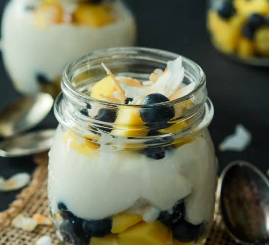 Dessert for breakfast with this Tropical Superfruit Yogurt Parfait, an easy way to detox that tastes delicious! | joyfulhealthyeats.com #recipes #healthybreakfast