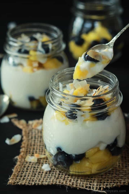 Dessert for breakfast with this Tropical Superfruit Yogurt Parfait, an easy way to detox that tastes delicious!   joyfulhealthyeats.com #recipes #healthybreakfast