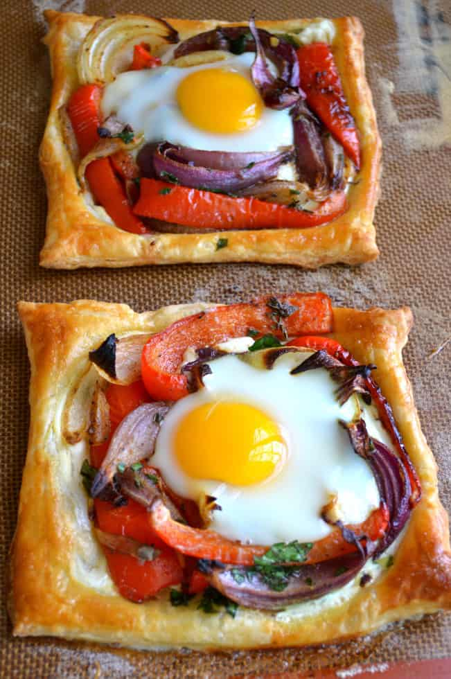 Two Red Pepper and Baked Egg Galettes on a Placemat