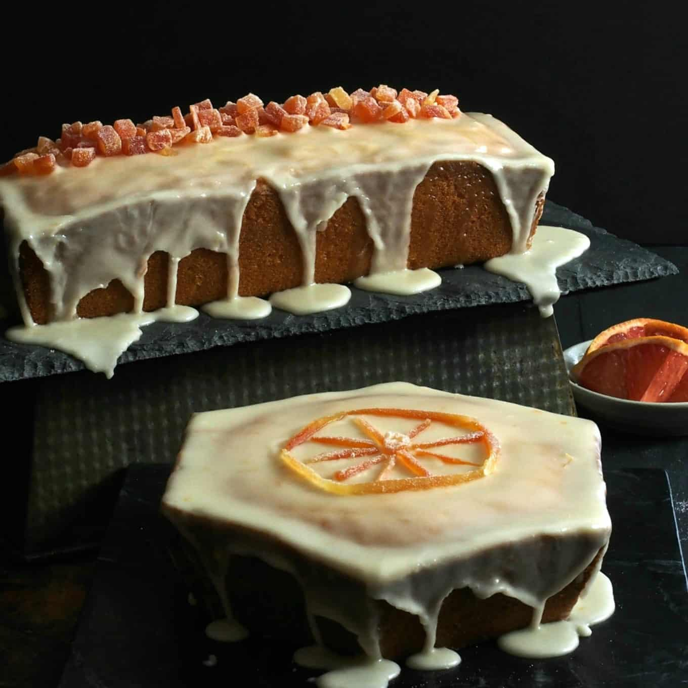 Two Grapefruit Pound Cakes Covered with Icing