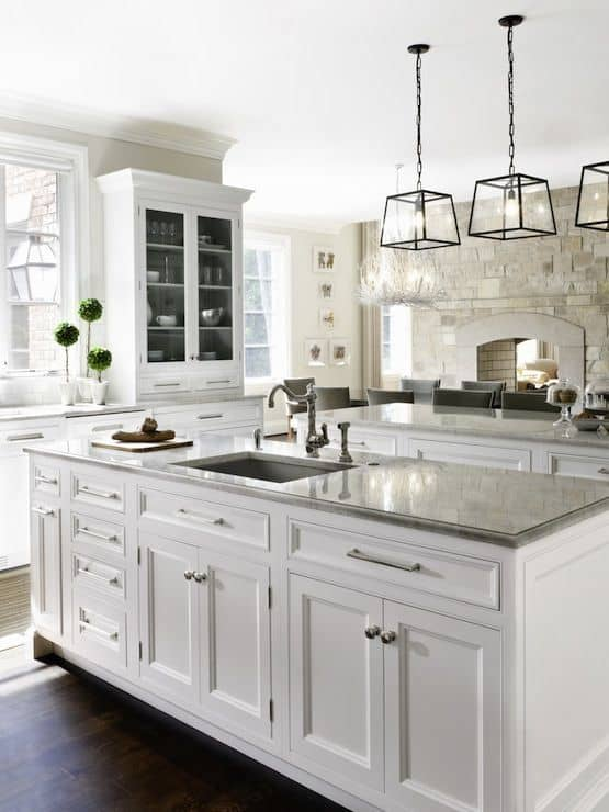 My Ideal White Kitchen | Design Ideas | White cabinets, Gray subway tile, Color schemes, and Appliances| joyfulhealthyeats.com #OurAmericanKitchen #ad