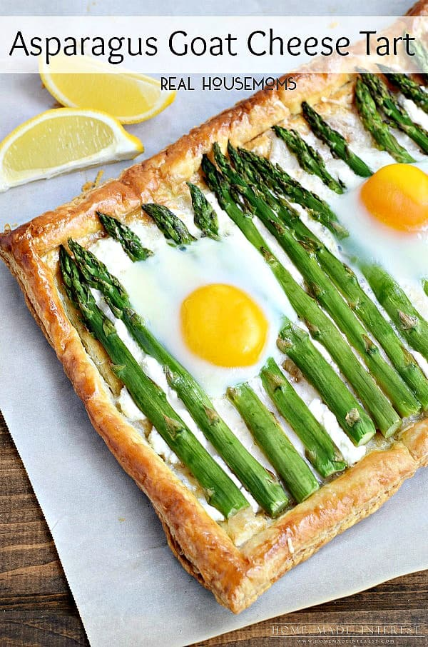 An Asparagus Goat Cheese Tart Topped with Egg