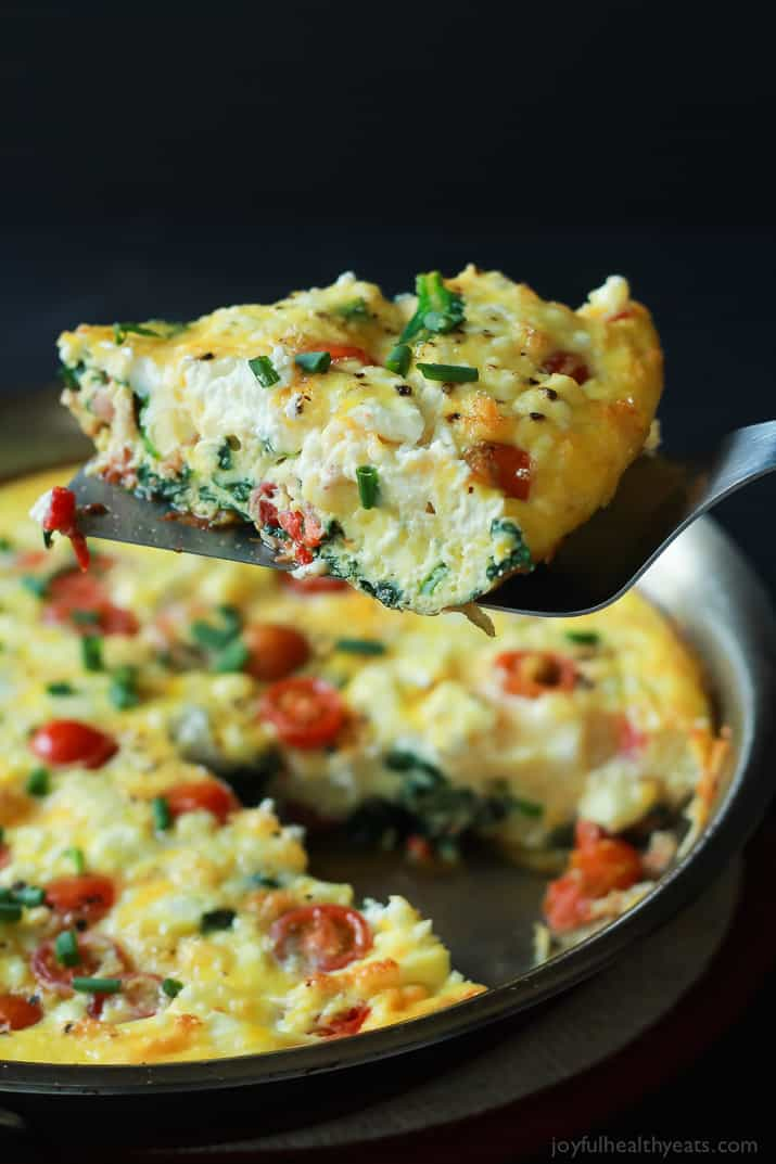 one slice of cheesy bacon spinach frittata