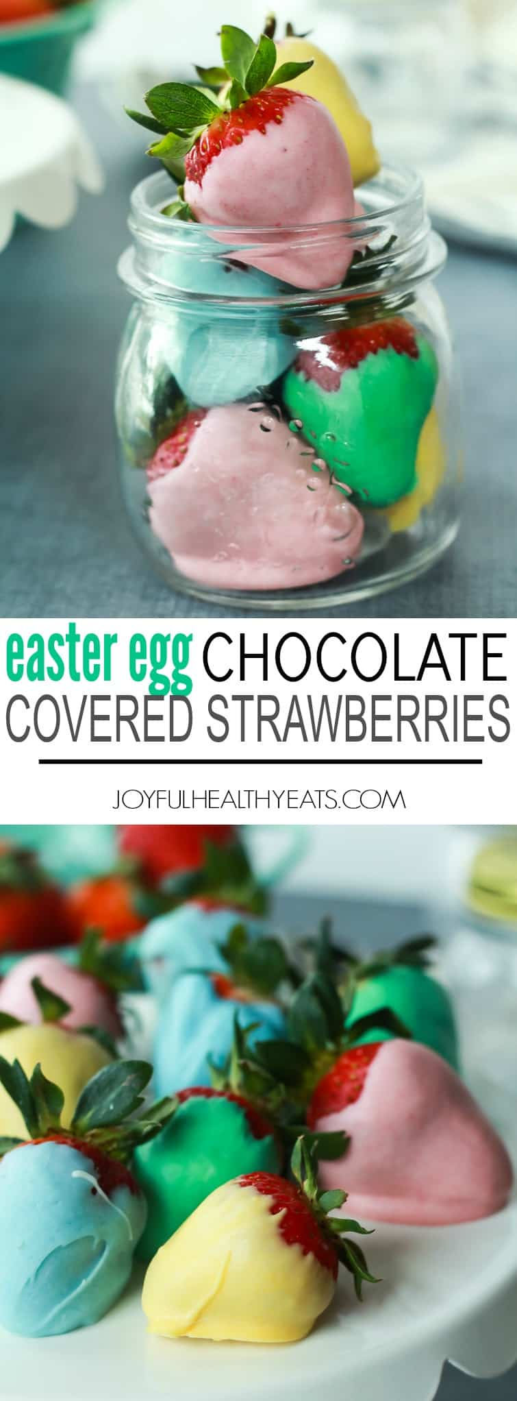 Easter Egg Chocolate Covered Strawberries Recipe using three ingredients - a fun festive dessert to make with your kids for Easter! | joyfulhealthyeats.com #eastereggcrafts