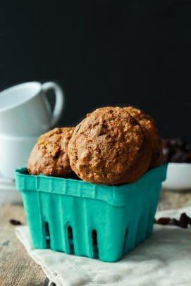 moist oat carrot cake muffins in a box