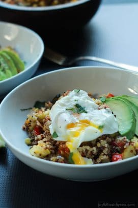 Southwestern Roasted Vegetable Quinoa Salad with Poached Eggs