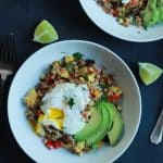 Southwestern Roasted Vegetable Quinoa Salad with Poached Egg